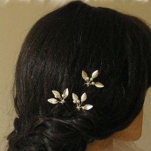 Set of three pearl silver leaf bridal hair pins